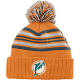 Miami Dolphins Youth Embroidered Pom Beanie Fold Cap