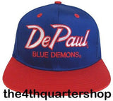 De Paul University Blue Demons Snapback Retro 2 Tone Script Cap Hat Blue Red