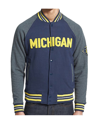 Michigan Wolverines Mens Mitchell & Ness Backward Pass Fleece Jacket