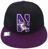 Northwestern Wildcats Snapback Logo Retro Cap Hat Black Purple