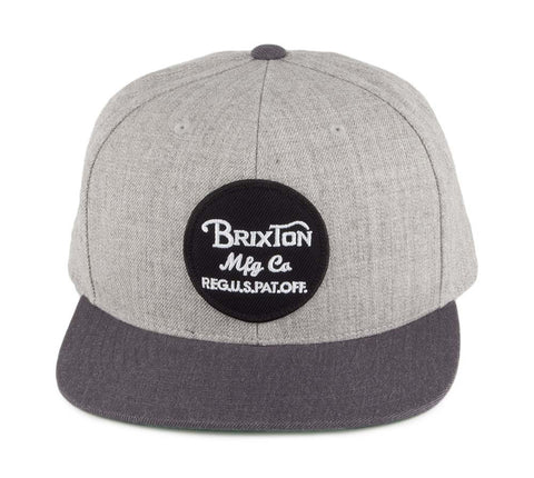 Brixton Supply Snapback Wheeler Cap Hat Grey Charcoal