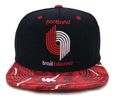 Portland Trail Blazers Snapback Mitchell & Ness Team Color Stroke Cap Black Red