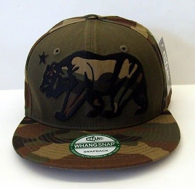 California Republic Snapback Whang XL Bear Retro Cap Hat Camo