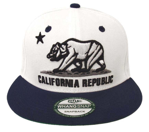 California Republic Snapback Bear Cap Hat White Navy