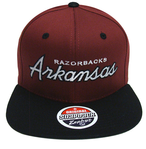 Arkansas Razorbacks Snapback Retro Zephyr Script Hat Cap Burgundy Black