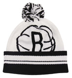 Brooklyn Nets Adidas Big Logo Pom Beanie Ski Cap White Black