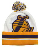 Los Angeles Lakers Beanie Adidas Big Logo Pom Ski Cap White Yellow