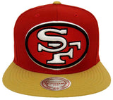 San Francisco 49ers Snapback Mitchell & Ness XL Logo Cap Hat Red Gold