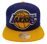 Los Angeles Lakers Snapback Mitchell & Ness XL Logo Cap Hat Purple Yellow