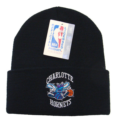 Charlotte Hornets Embroidered Vintage Fold Knit Beanie Black