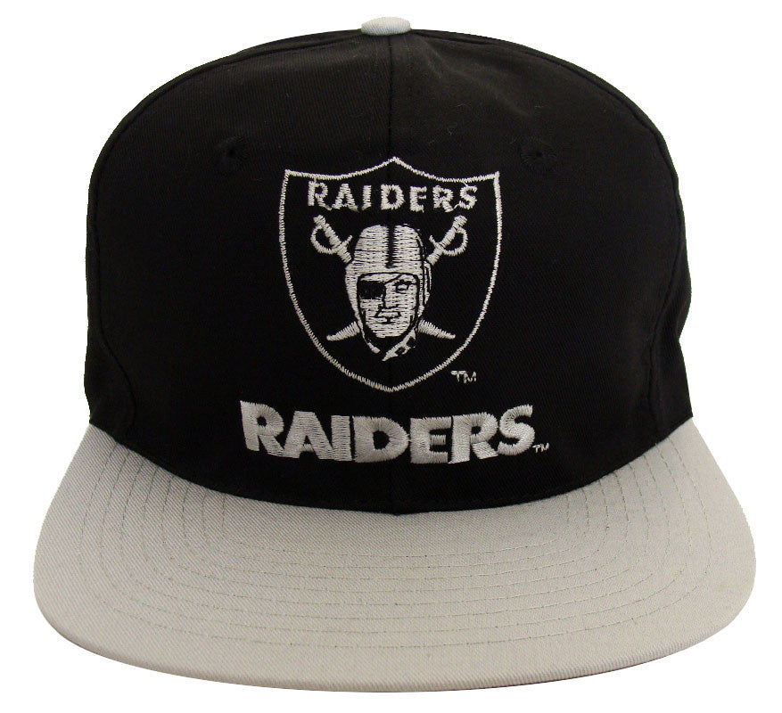 0c32c870b59 Los Angeles Raiders Snapback Vintage Name   Logo Cap Hat Black Grey ...