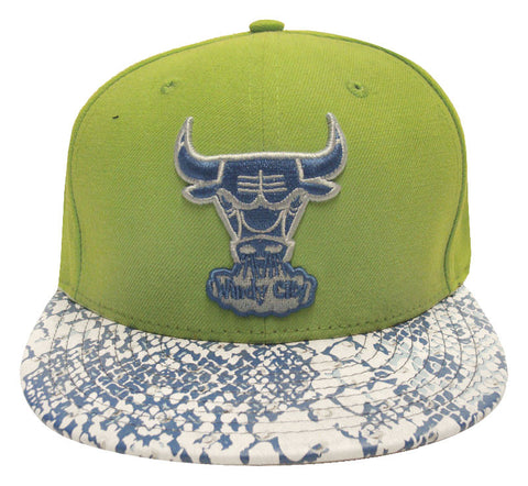 Chicago Bulls Snapback New Era Ostrich Snake Cap Hat Green Blue