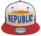 California Republic Snapback License Whang Retro Cap Hat Navy Red