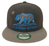 California Republic Snapback Bear Cap Hat Charcoal Grey