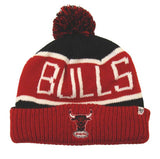 Chicago Bulls Beanie 47 Brand Calgary Embroidered Pom Ski Cap Black Red Cuff