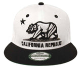 California Republic Snapback Bear Cap Hat White Black