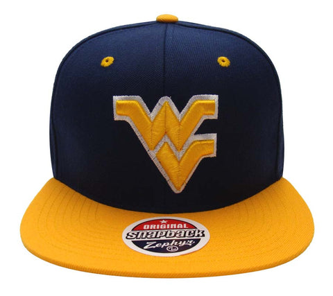 West Virginia Mountaineers Snapback Zephyr Z11 Cap Hat Navy Yellow