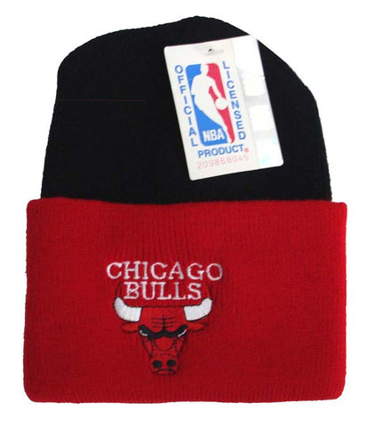Chicago Bulls Beanie Embroidered Vintage 90's Folded Ski Cap Black Red