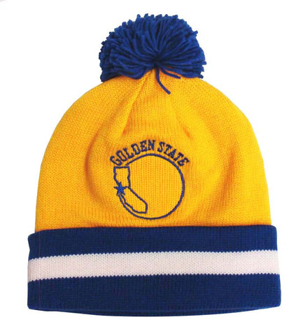 8c99f583eb9 Golden State Warriors Beanie Mitchell   Ness Embroidered Pom Fold Cap