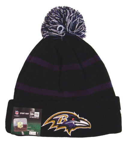 Baltimore Ravens Beanie New Era Sport Knit On Field Embroidered Pom Fold Cap