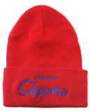 Los Angeles Clippers Beanie Mitchell & Ness Script Cuff Knit Hat Cap Red
