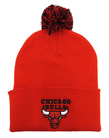 Chicago Bulls Beanie Adidas Embroidered Pom Fold Cap Red