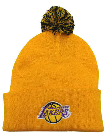 Los Angeles Lakers Beanie Adidas Embroidered Pom Fold Cap Yellow