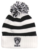 Brooklyn Nets Beanie Adidas Stripped Embroidered Pom Fold Cap Hat