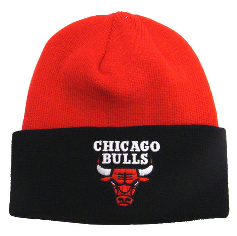 Chicago Bulls Beanie Adidas Embroidered 2 Tone Fold Cap Hat Red Black