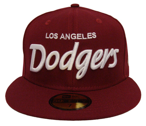 Los Angeles Dodgers Fitted New Era 59FIFTY Script Burgundy Cap Hat