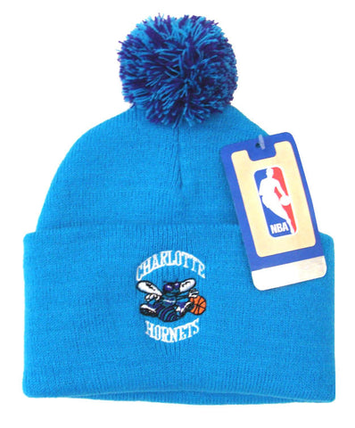Charlotte Hornets Embroidered Pom Knit Beanie Blue