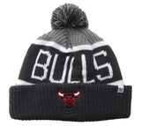 Chicago Bulls Beanie 47 Brand Calgary Embroidered Pom Ski Cap Grey Charcoal Cuff