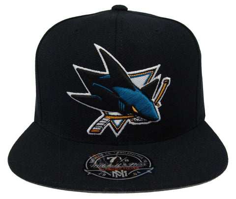 San Jose Sharks Fitted Mitchell & Ness Black Hat Cap
