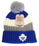 Toronto Maple Leafs Beanie AN Slope Pom Top Cuff Knit 2 Tone Hat