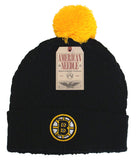 Boston Bruins Beanie AN Bit Cold Pom Top Cuff Knit 2 Tone Hat