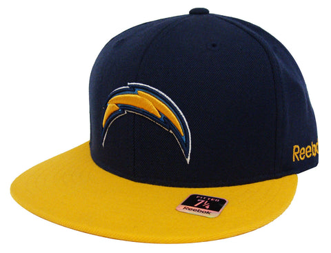 San Diego Chargers Fitted Reebok Logo Cap Hat Navy Yellow Size 7 1/4