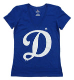 Los Angeles Dodgers Big D Womens V Neck T-Shirt Blue