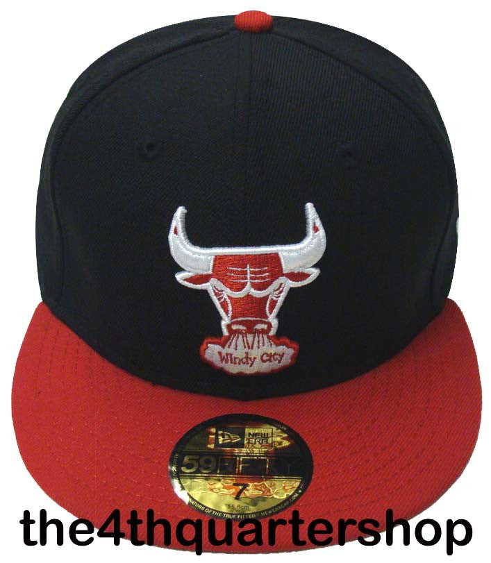 Chicago Bulls Fitted New Era 59Fifty Black Red Cap Hat Size 7 1 8 ... 299146d581d