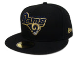 Los Angeles Rams Fitted New Era 59Fifty Logo Black Cap Hat