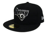 Los Angeles Rams Fitted New Era 59Fifty Black & White Logo Black Cap Hat