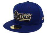 Los Angeles Rams Fitted New Era 59Fifty Word Logo Blue Cap Hat