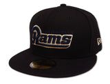Los Angeles Rams Fitted New Era 59Fifty Word Logo Black Cap Hat