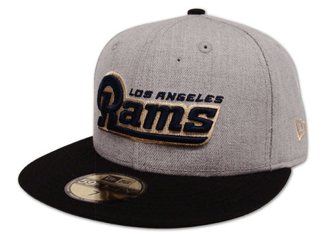 Los Angeles Rams Fitted New Era 59Fifty Word Logo Wool Black Cap Hat