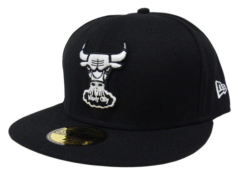 Chicago Bulls Fitted New Era 59Fifty Logo Black Cap Hat