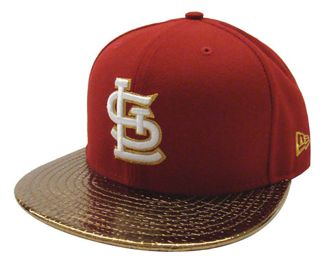 St. Louis Cardinals Fitted New Era 59Fifty Metallic Slither Red Gold Cap Hat