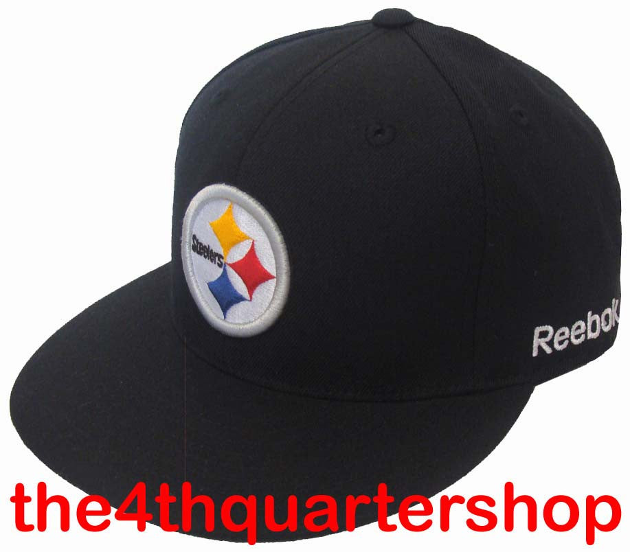 018a87d8 Pittsburgh Steelers Fitted Reebok Logo Cap Hat Black