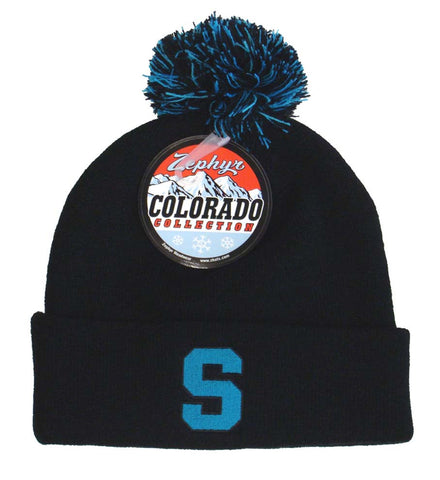 Michigan State Spartans Beanie Zephyr Blue Pom Knit fold Hat Black