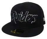 Oakland Raiders Fitted New Era 59Fifty Black Script White Outline Black Cap Hat