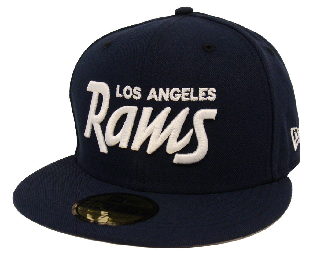 Los Angeles Rams Fitted New Era 59Fifty White Script Navy Cap Hat – THE 4TH  QUARTER 4ef849ec8