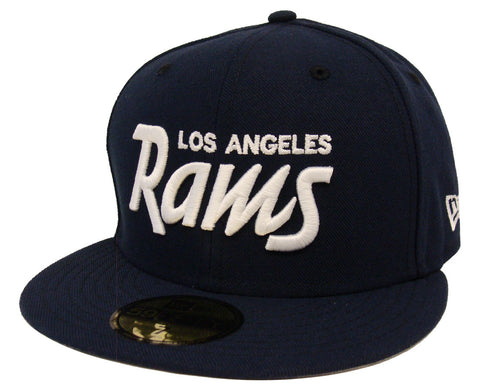 Los Angeles Rams Fitted New Era 59Fifty White Script Navy Cap Hat